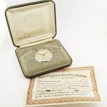 Elgin 14K White Gold 12-Size Pocket Watch