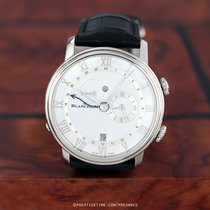 Blancpain Villeret pre-owned 40.3mm White Date Year Alarm GMT Crocodile skin