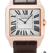 Cartier Red gold Manual winding Silver Roman numerals 34.6mm new Santos Dumont