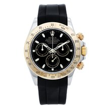 Rolex Daytona Steel & Gold 2-Tone Men's Watch Black Rubber...