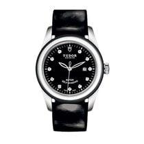 Tudor 53010N-BlackPaternLeather-Black- Glamour Date in Steel -...