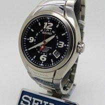 Seiko Sportura pre-owned 42mm Black Date Perpetual calendar Steel