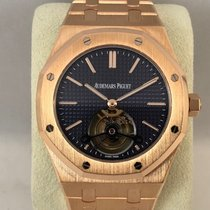 Audemars Piguet Rose gold Manual winding Blue No numerals 41mm pre-owned Royal Oak Tourbillon