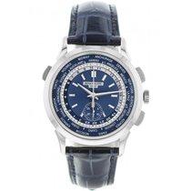 Patek Philippe World Time Chronograph Or blanc 39.5mm Bleu France, Paris