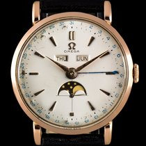 Omega 18k Rose Gold Triple Calendar Moonphase Vintage Gents 2473