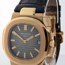 Patek Philippe Nautilus 18k Rose Gold Mens Watch Box &...