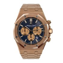 Audemars Piguet Royal Oak Chronograph pre-owned 41mm Blue Chronograph Date Rose gold