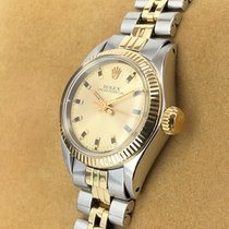 Rolex Oyster Perpetual 26 Geelgoud 25mm Champagne Geen cijfers
