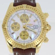 Breitling Gelbgold Automatik Weiß Keine Ziffern 44mm gebraucht Chronomat Evolution