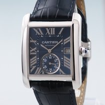 Cartier Steel Automatic Blue 34mm pre-owned Tank MC