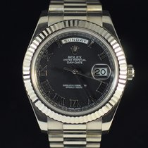 Rolex Day-Date II Or blanc 41mm Noir Romain France, Paris