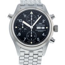 IWC Pilot Double Chronograph pre-owned 42mm Black Date Steel