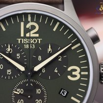 Tissot Chrono XL Steel Grey PVD on Leather 45mm Green Arabic...