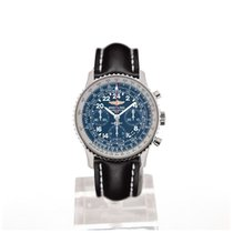 Breitling Navitimer Cosmonaute 43 Blue Dial Black Leather...