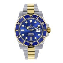 Rolex Submariner Steel & 18K Yellow Gold Blue Ceramic Watch...