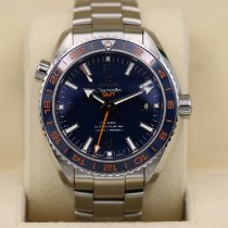 Omega Seamaster Planet Ocean pre-owned 43.5mm Blue Date GMT Steel