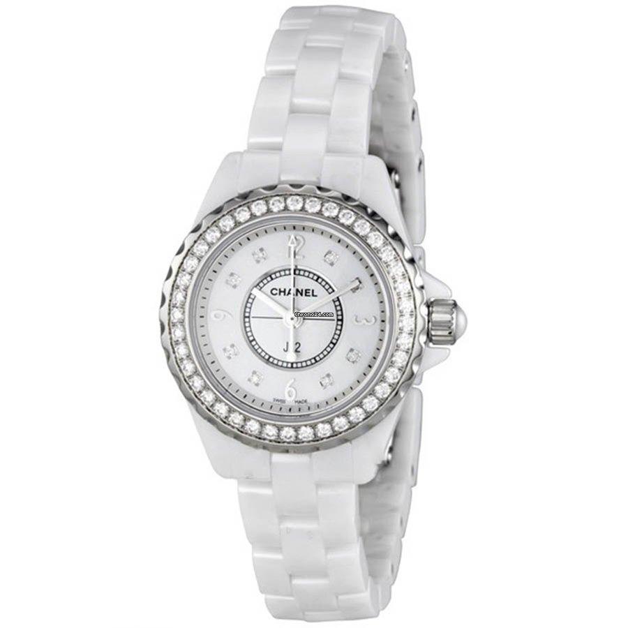 Chanel Ladies H2572 J12 White Ceramic 40 Diamonds Watch