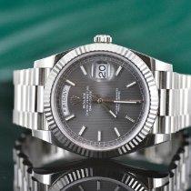 Rolex Oro blanco Automático Gris Sin cifras 40mm usados Day-Date 40