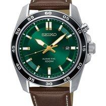 Seiko Kinetic Steel 42.6mm Green No numerals