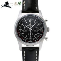 Breitling Transocean Unitime Pilot pre-owned 46mm Black Leather