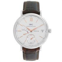 IWC Portofino Hand-Wound pre-owned 45mm Silver Date Leather