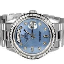 Rolex Pre-Owned Mens Rolex President Day-Date 18k White Gold...
