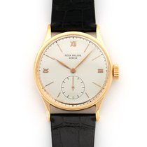 Patek Philippe Red gold Manual winding Silver 36mm pre-owned Calatrava