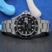 Rolex Stahl Automatik Schwarz Keine Ziffern 40mm gebraucht Submariner Date