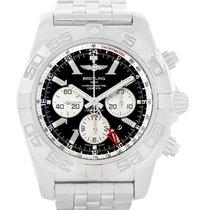 Breitling Chronomat Gmt Steel Black Dial Mens Watch Ab0410 Box...