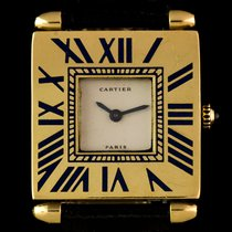Cartier 18k Yellow Gold & Enamel Silver Dial Hunter Gents...