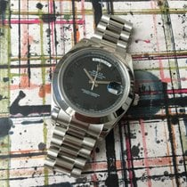 Rolex Day-Date II 41mm 218206  Platinum Black Dial Box &...