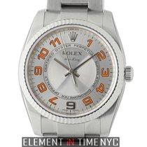 Rolex Air-King Stainless Steel 34mm Silver Dial Orange Markers...