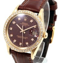 勞力士 14K Yellow Gold DATE Custom Ox Blood Diamond Dial & Bezel