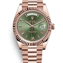 Rolex Rose gold Automatic Green Roman numerals 40mm new Day-Date 40