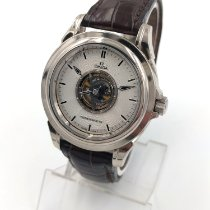 Omega De Ville Central Tourbillon pre-owned 38.7mm Silver Tourbillon Crocodile skin