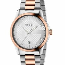 Gucci Steel Quartz Silver No numerals 38mm new G-Timeless
