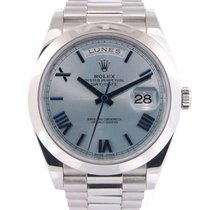 Rolex Platine Remontage automatique Bleu Romain 40mm Day-Date