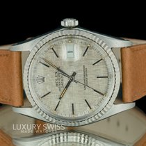 Rolex Datejust Silver Liner Dial Fluted Bezel Leather band