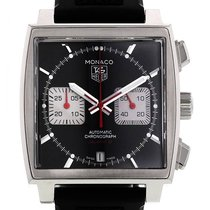 TAG Heuer Monaco Calibre 12 pre-owned 39mm Black Chronograph Date Rubber