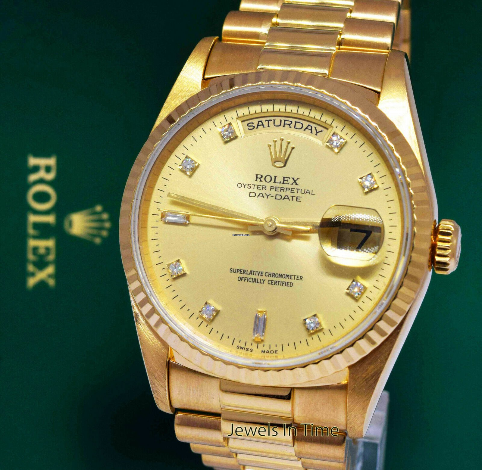 ca6ca605903 Rolex Day-Date President 18k Yellow Gold Diamond Dial Mens Watch 18238