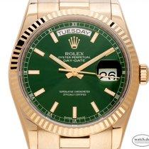 Rolex Day-Date 36 Or jaune 36mm Vert