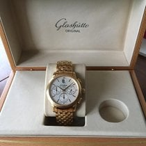 Glashütte Original Senator Chronograph pre-owned 39mm Silver Chronograph Date Yellow gold