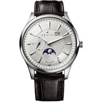Zenith Captain Moonphase Stal 40mm Srebrny Bez cyfr