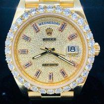 Rolex Day-Date 40 Yellow Gold, 40MM, Diamond Bezel & Baguette...