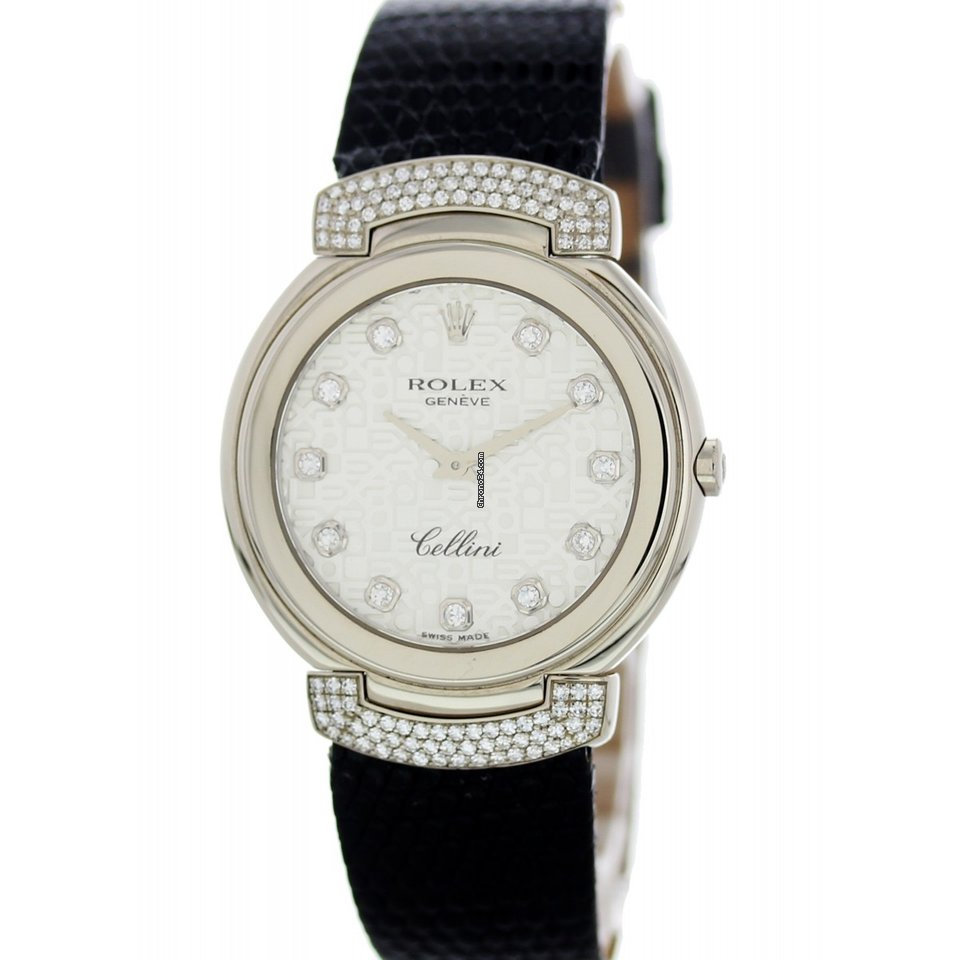Rolex Cellini 6682 18K White Gold Diamonds Watch