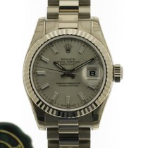 Rolex White gold Automatic Silver No numerals 26mm new Lady-Datejust