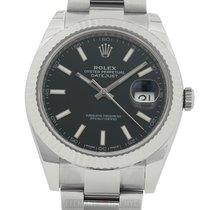 Rolex Datejust II Steel 41mm 18k White Gold Bezel Black Index...