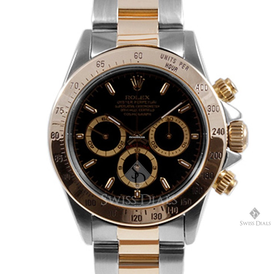Rolex Daytona Steel and Gold Black Dial Tachymeter Engraved Bezel Oyster  Band