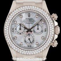 Rolex 18k White Gold MOP Dial Diamond Bezel Daytona B&P...