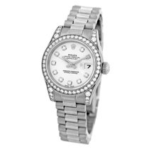 Rolex 18K White Gold President Datejust Factory Diamonds...